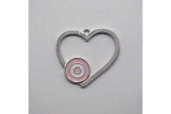 Μεταλλική Καρδιά Μάτι 40mm με Σμάλτο MI-054