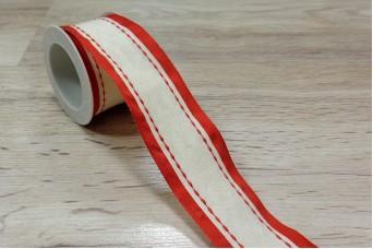 Κορδέλα Χριστουγεννιάτικη Εκρού - Κόκκινο με Γαζί 3m R8792-1