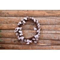 Στεφάνι Ξύλινο Άνθη Βαμβακιού 33cm AF2315