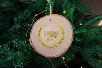 """Κρεμαστό Στολίδι Φέτα """"Joyeux Noel"""" με Glitter CD100025-2"""