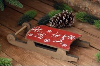 """Ξύλινο Έλκηθρο """"Merry Christmas"""" Κόκκινο CD154139-1"""