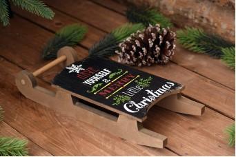 """Ξύλινο Έλκηθρο """"Merry Christmas"""" Μαύρο CD154139-2"""