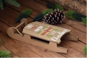 """Ξύλινο Έλκηθρο """"Merry Christmas"""" Φυσικό CD154139-3"""