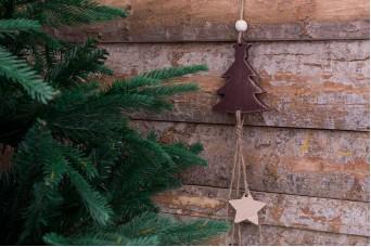 Χριστουγεννιάτικο Κρεμαστό Boho Έλατο με Αστέρια CD155512-1