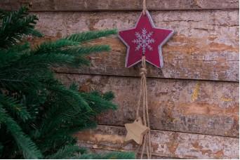 Χριστουγεννιάτικο Κρεμαστό Boho Αστέρι με Αστέρια CD155512-3