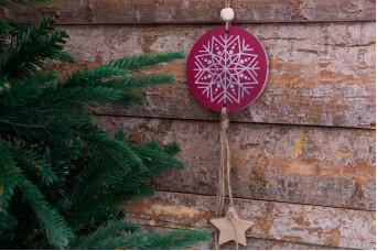 Χριστουγεννιάτικο Κρεμαστό Boho Νιφάδα με Αστέρια CD155615-1