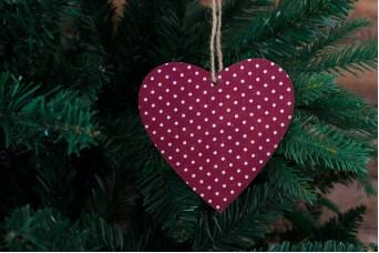 Ξύλινη Καρδιά Κόκκινο Λευκό-Πουά CD7761-4