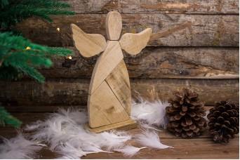 Ξύλινος Διακοσμητικός Άγγελος σε Βάση WI0757