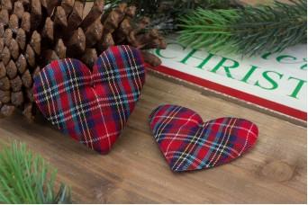 Υφασμάτινη Καρδιά 10τεμ Καρώ 8cm UHR8-114111-33