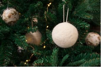 Χριστουγεννιάτικες Μπάλες Felt Λευκές CD7622W