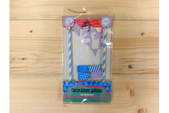 Cake Topper Βlue Flags 1403B