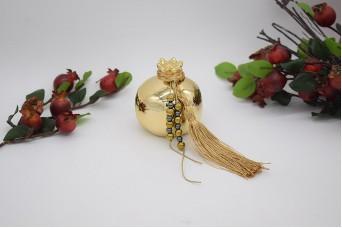 Γούρι Ρόδι Κεραμικό 7cm Χρυσό με Χάντρες 21-006-07a