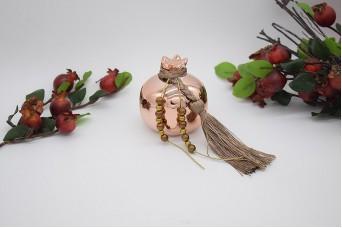 Γούρι Ρόδι Κεραμικό 7cm Ροζ Χρυσό με Χάντρες 21-006-09a