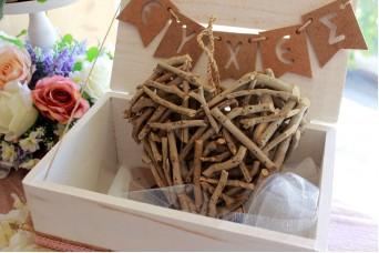 Ξύλινη Καρδιά Κρεμαστή 22cm 40698-1