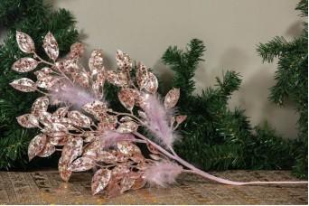 Κλαδί 80cm Φυλλαράκια Πούπουλα Παγέτες AF-15572