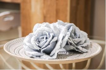 Τριαντάφυλλο 17cm Χιονισμένο AFR-N21168-BLU
