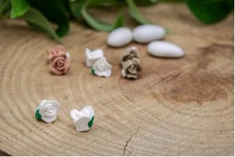 Κεραμικό Λουλουδάκι για Στέφανα Λευκό 13mm 50τεμ. BD2014-1