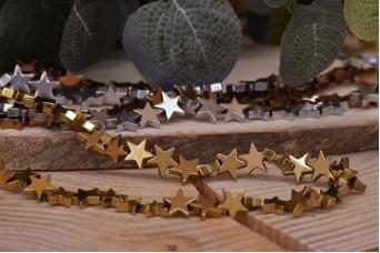 Χάντρα Αιματίτη Αστέρι Χρυσό 10mm 45τεμ. BD3230-10-4