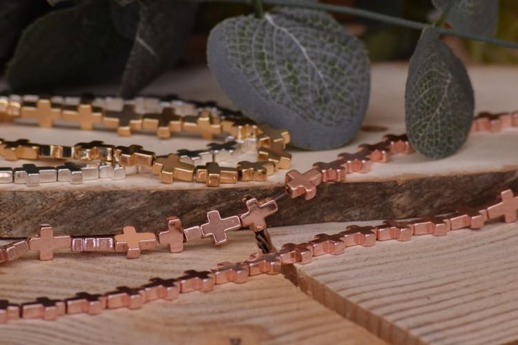 Σταυρός Χάντρα Αιματίτη Pink Gold 10mm 38τεμ. BD3358-11