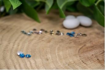 Χάντρα Κρυστάλλινη Μισή Μπλε 100τεμ. BD6-1694-009-100