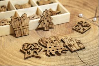 Χριστουγεννιάτικα Ξύλινα Μοτίφ Δώρα 27τεμ CD19-3900-3