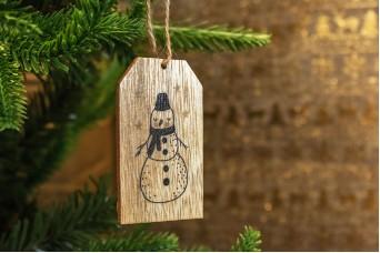 Χριστουγεννιάτικο Ξύλινο Καρτελάκι Χιονάνθρωπος 7cm 2τεμ CD19-3914-2