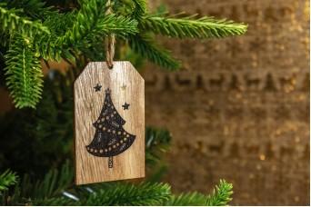Χριστουγεννιάτικο Ξύλινο Καρτελάκι Έλατο 7cm 2τεμ CD19-3914-3