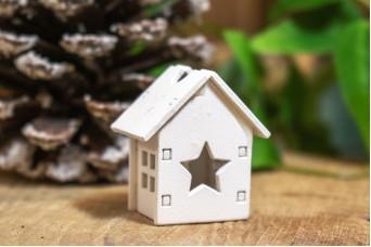 Χριστουγεννιάτικο Ξύλινο Σπιτάκι Λευκό Αστέρι 3.5x4cm CD19-3929-2