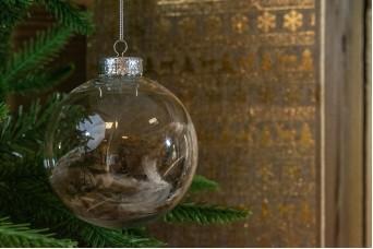 Χριστουγεννιάτικη Μπάλα Διάφανη Καφέ Φτερά 10cm CD19-4014
