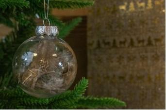 Χριστουγεννιάτικη Μπάλα Διάφανη Καφέ Φτερά 8cm CD19-4020