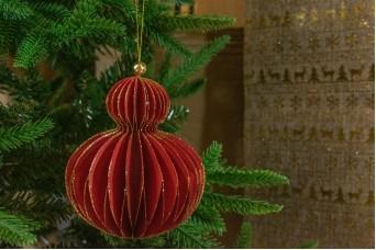 Χριστουγεννιάτικη Μπάλα Κόκκινη Glitter 14.5cm CD19-4022-1