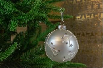 Γυάλινη Μπάλα Λευκή Ματ Κρύσταλλα 8cm CD19-4069-2