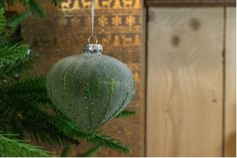 Γυάλινη Μπάλα Πράσινη Χιονισμένη Floral 10cm CD19-4093