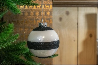 Γυάλινη Μπάλα Ρίγες Λευκό Μαύρο 8cm CD19-4108-3
