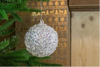 Χριστουγεννιάτικη Μπάλα Λευκή Πέρλες 8cm CD19-4131-1