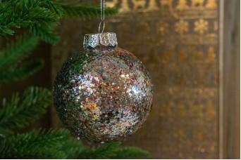 Χριστουγεννιάτικη Μπάλα Πολύχρωμη Χρυσόσκονη 8cm CD19-4131-5
