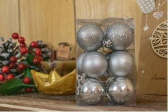 Χριστουγεννιάτικες Μπάλες 4cm Ασημένιο 12τμχ CD4-1333-2