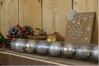 Χριστουγεννιάτικες Μπάλες 6cm Ασημένιο 8τμχ CD6-1329-2