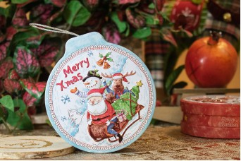 Γαλάζιο Tin Χριστουγεννιάτικη Μπάλα Πλακέ Έλκηθρο CD19-7319-2