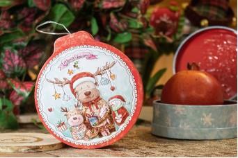 Κόκκινο Tin Χριστουγεννιάτικη Μπάλα Πλακέ Τάρανδος CD19-7319-7