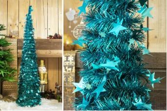 Δέντρο Tinsel Αστεράκια 150cm Arctic Blue CD-6701-3