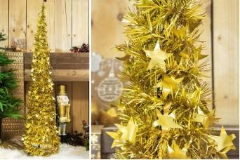 Δέντρο Tinsel Αστεράκια 150cm Χρυσό CD-6701-4