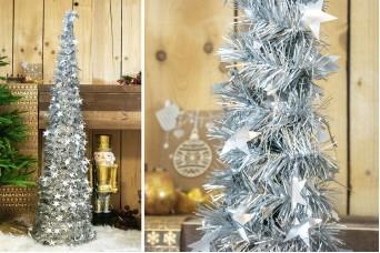 Δέντρο Tinsel Αστεράκια 150cm Ασημένιο CD-6701-5