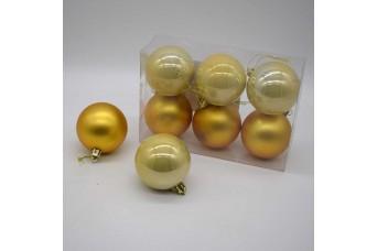 6τεμ Χριστουγεννιάτικες Μπάλες 6cm Light Gold CD21-0606-15