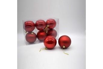 6τεμ Χριστουγεννιάτικες Μπάλες 8cm Christmas Red CD21-0806-04