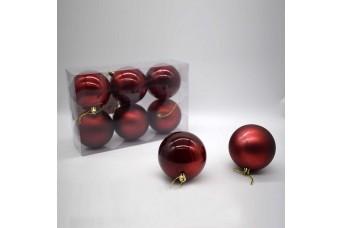 6τεμ Χριστουγεννιάτικες Μπάλες 8cm Oxblood CD21-0806-05