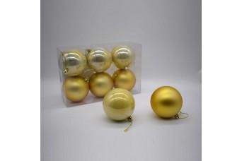 6τεμ Χριστουγεννιάτικες Μπάλες 8cm Light Gold CD21-0806-15