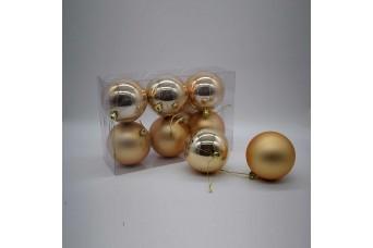 6τεμ Χριστουγεννιάτικες Μπάλες 8cm Champagne CD21-0806-16