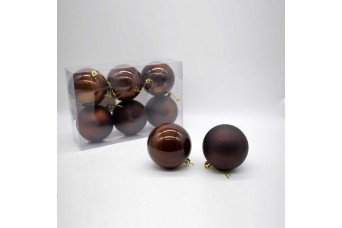 6τεμ Χριστουγεννιάτικες Μπάλες 8cm Dark Brown CD21-0806-20