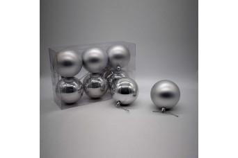 6τεμ Χριστουγεννιάτικες Μπάλες 8cm Silver CD21-0806-21